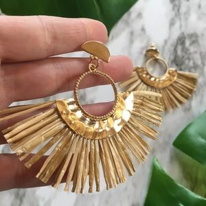 Jewelry - Raffia Straw Goldtone Boho  Festival Earrings New